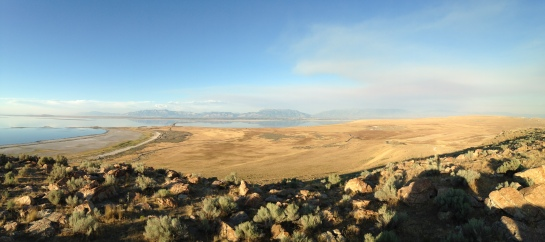 Antelope Island from Buffalo Point with SLC in the distance